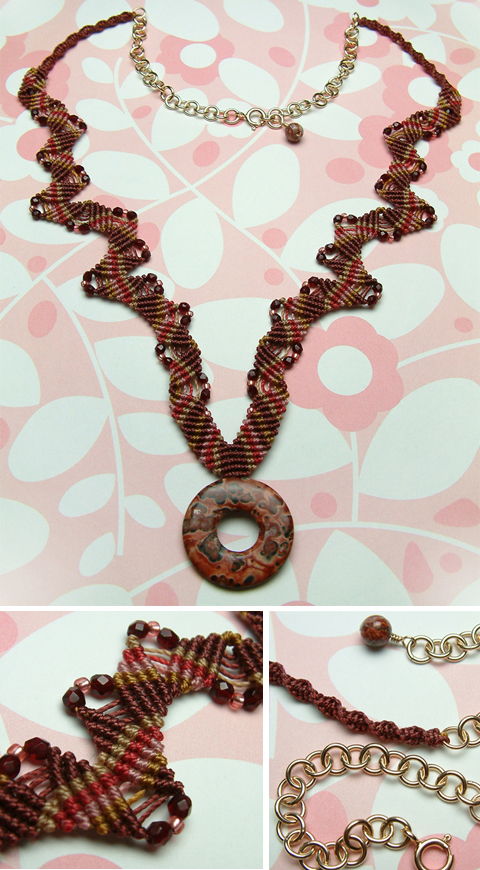 Macrame Necklace with Vintage Poppy Jasper Donut