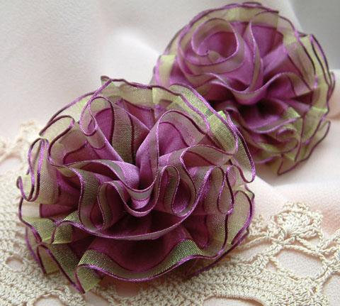 Purple Ribbon Flowers